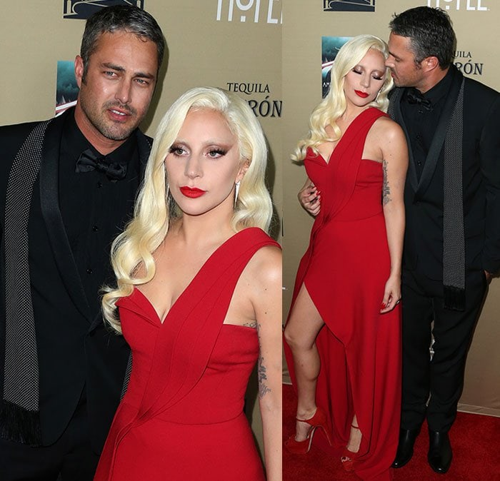 Lady Gaga with Ryan Murphy and fiance Taylor Kinney at the premiere screening of FX's 'American Horror Story: Hotel' at Regal Cinemas L.A. Live on October 3, 2015