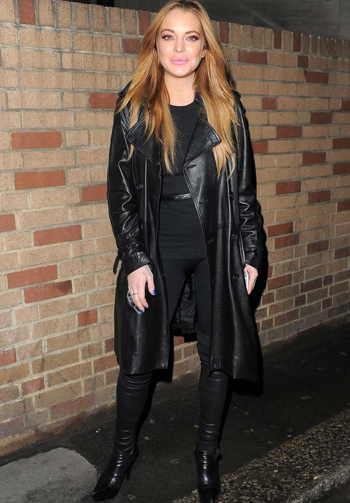 Lindsay Lohan in an all-black ensemble for dinner at Sexy Fish restaurant in London