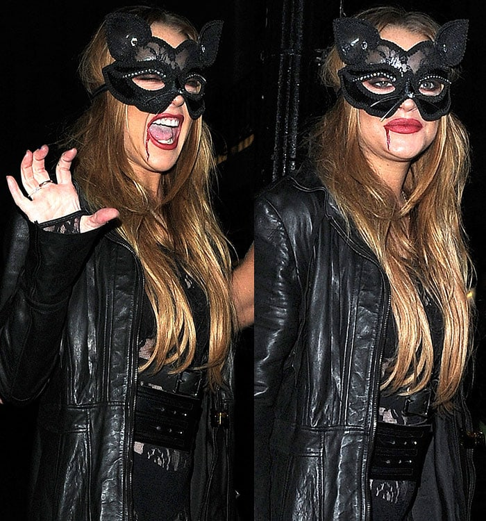 Lindsay-Lohan-sexy-cat-woman-bloody-lips