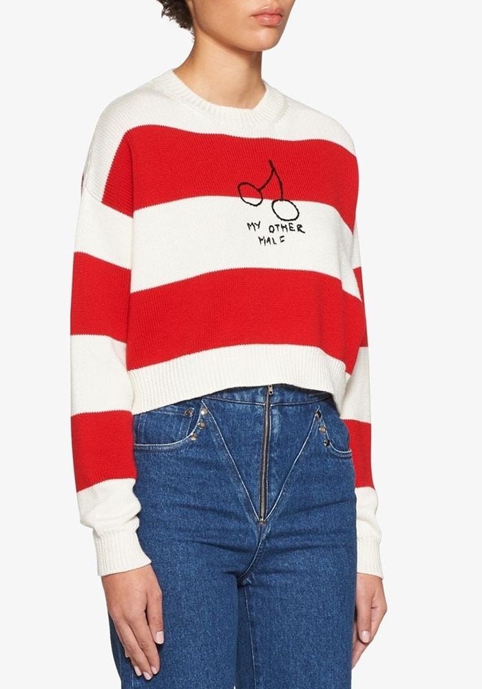 MIU MIU cherries striped jumper