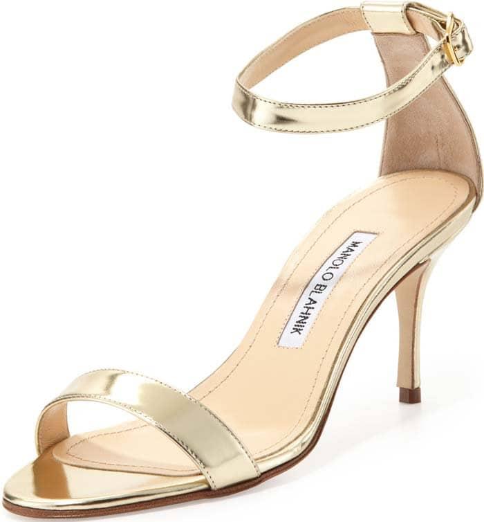 Manolo Blahnik Chaos Sandals in Gold