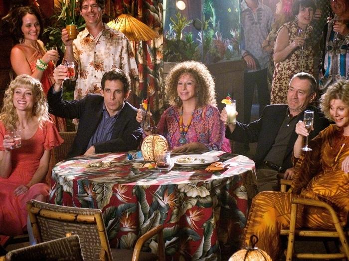 The cast of Meet the Fockers (2004): Teri Polo (as Pam Byrnes), Ben Stiller (as Greg Focker), Barbra Streisand (as Roz Focker), Robert De Niro (as Jack Byrnes), and Blythe Danner (as Dina Byrnes)