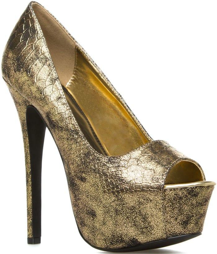 Melisandre Gold Peep-Toe Pumps