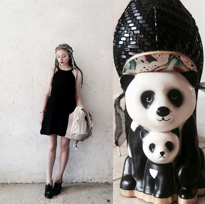 Mimi styled her panda shoes with a black dress