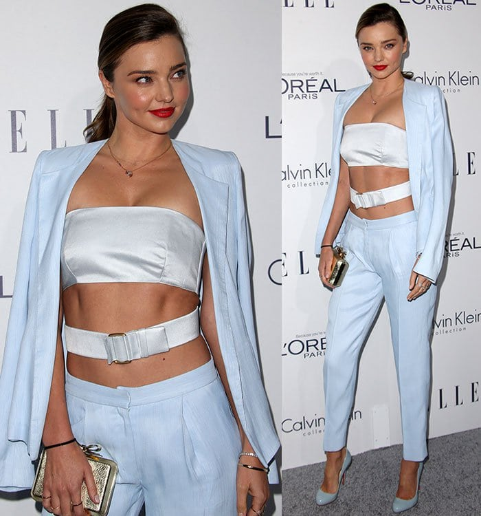 Miranda Kerr wore a bandeau crop top and cigarette pants