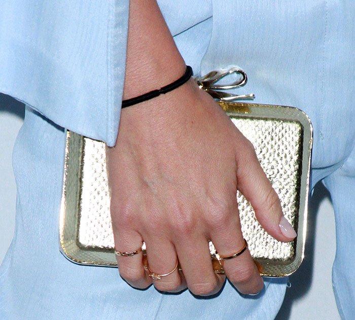 Miranda Kerr totesa Christian Louboutin Fiocco embellished clutch