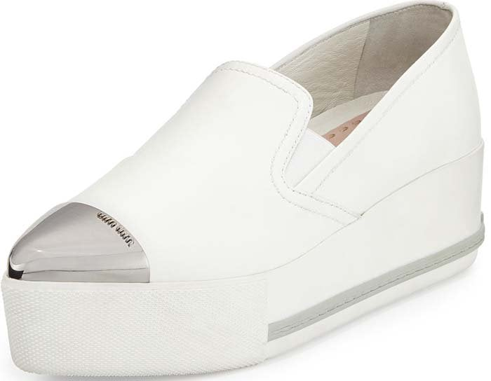 "Miu Miu ""Bianco"" Metallic Cap-Toe Skate Sneaker in White"