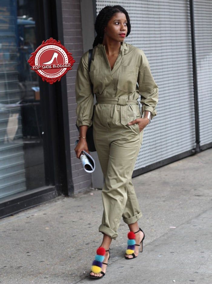 Monroe's styled her jumpsuit with a colorful pair of sandals