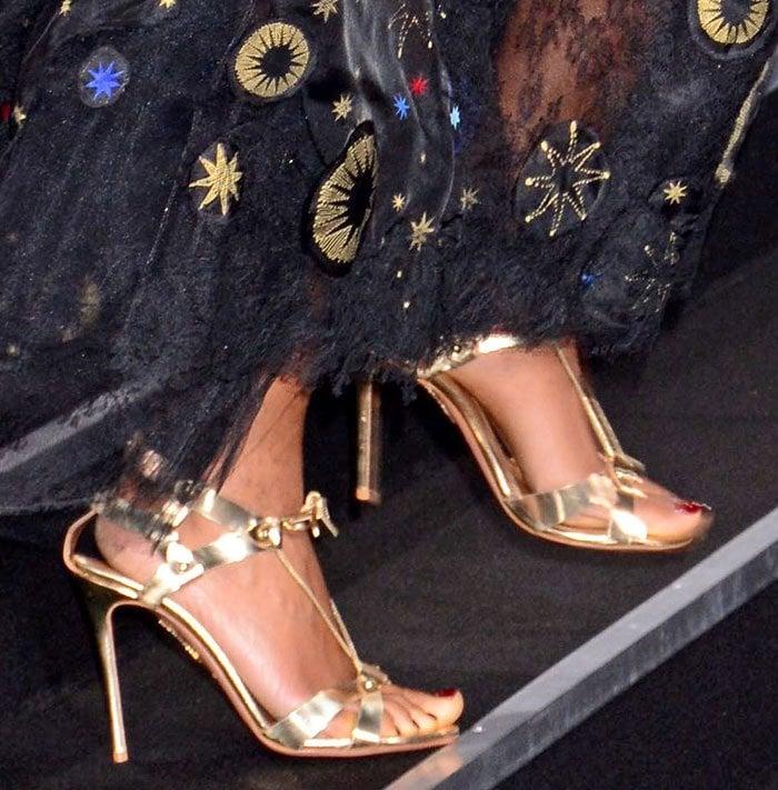 Naomie Harris's feet in Aquazzura sandals