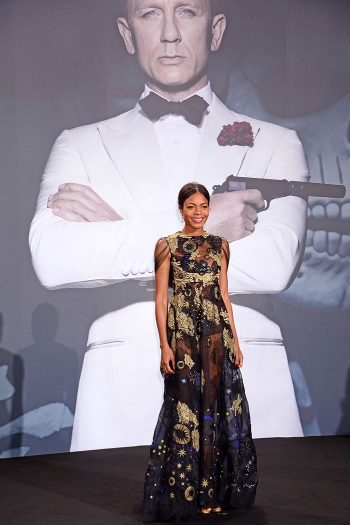 Naomie Harris wows in a Valentino dress with metallic intergalactic prints