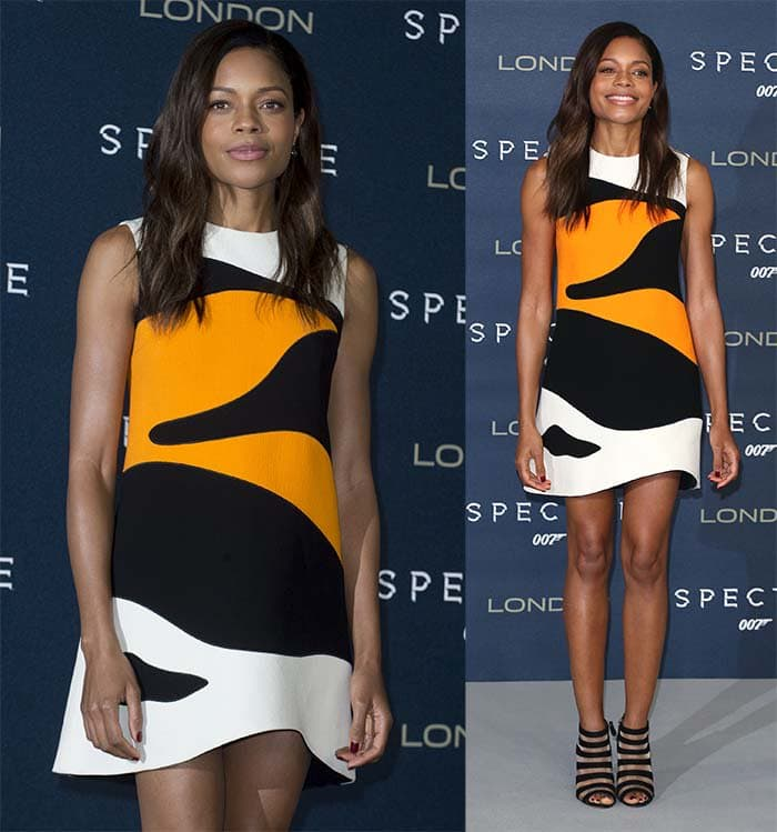 """Naomie Harris keeps it feminine in Christian Dior for the London photocall of """"Spectre"""""""