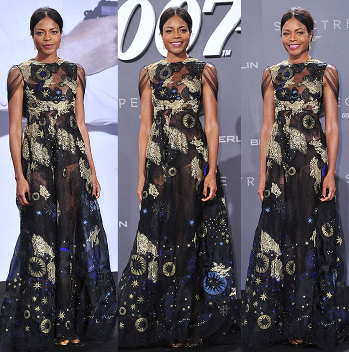 """Naomie Harris wears a Valentino dress at the German premiere of """"Spectre"""""""