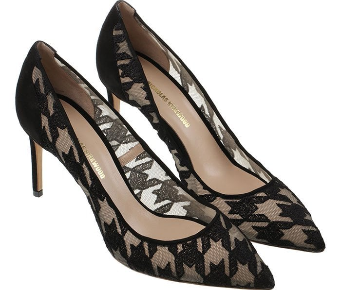 Nicholas Kirkwood Houndstooth Embroidered Pumps