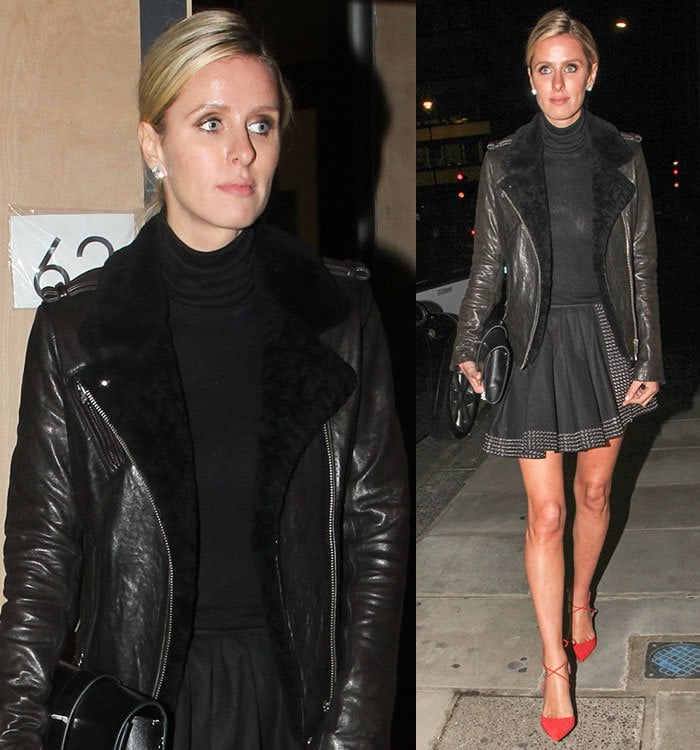 Nicky Hilton wears a black leather jacket, black turtleneck and black skirt out in London