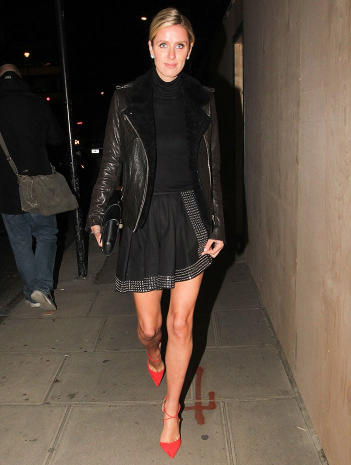 "Nicky Hilton flaunts her hot legs while leaving Chiltern Firehouse after attending the ""Harper's Bazaar"" party"