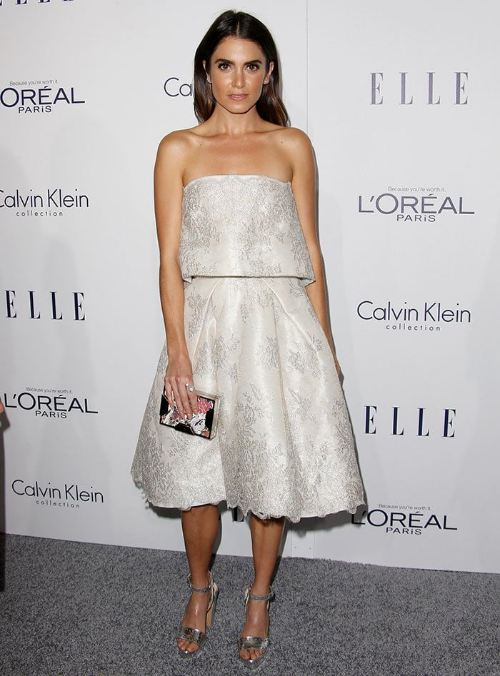Nikki Reed wears a bridal-inspired dress from Monique Lhuillier at the Elle Women in Hollywood Awards