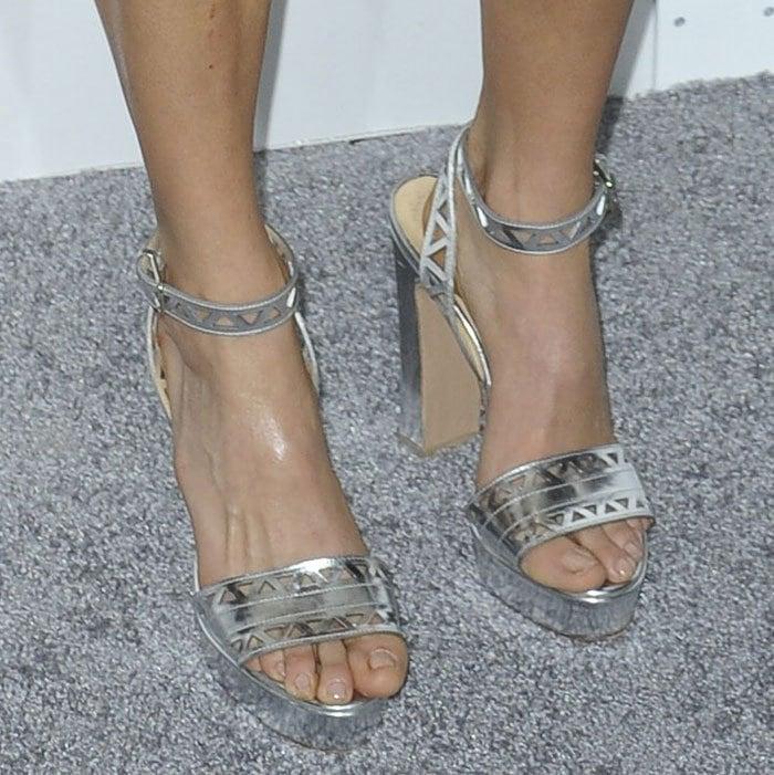 Nikki Reed's hot feet in Bionda Castana sandals