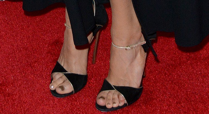 Nina Dobrev shows off her feet in Casadei sandals