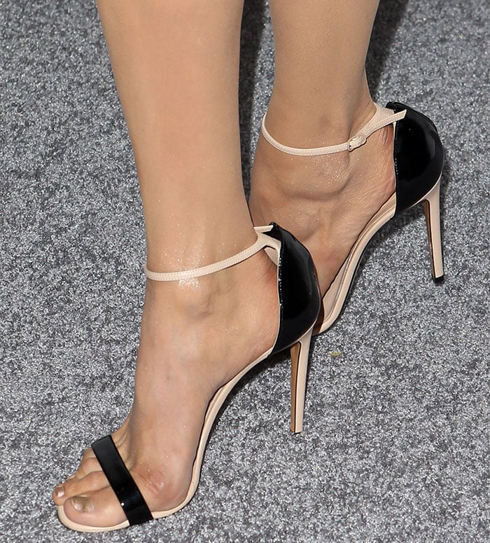 Nina Dobrev showing off her feet in Casadei sandals
