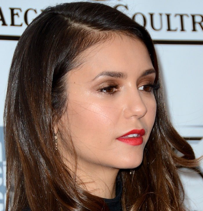 Nina Dobrev showed off her Ancient America earrings from H. Stern
