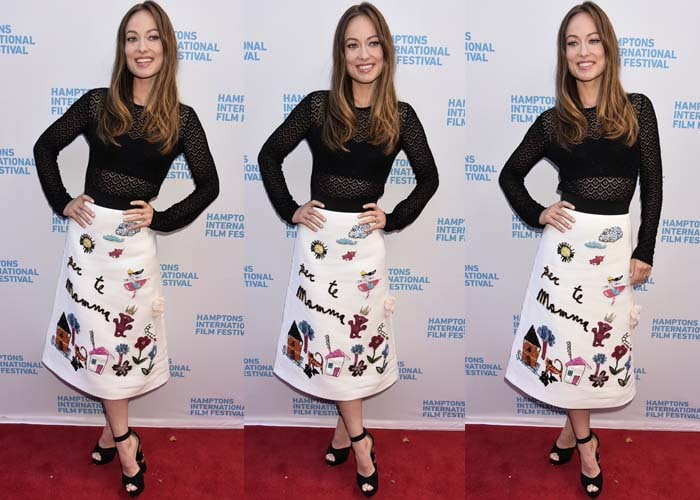 Olivia Wilde stepped out on the red carpet in a mesh top and an adorable embroidered skirt by Dolce & Gabbana