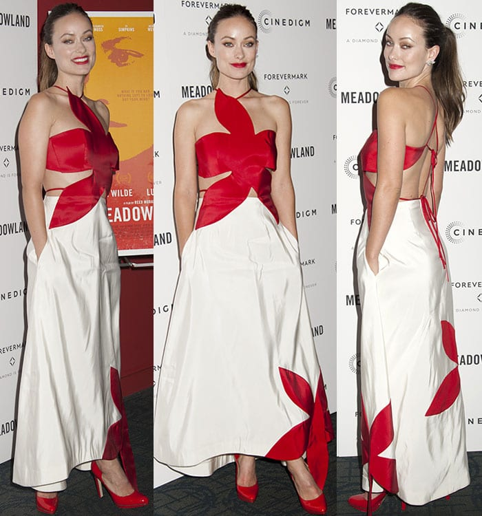 Olivia-Wilde-shows-skin-red-white-Rosie-Assoulin-dress