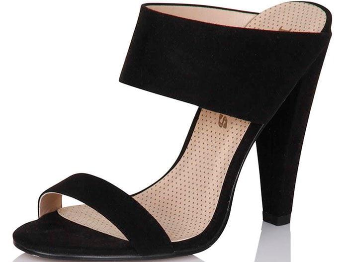 Dorothy Perkins Paper Dolls Black Two-Strap Slip-On Heels