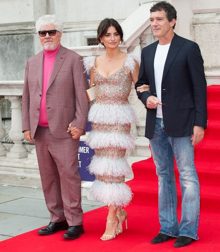 Pedro Almodovar, Penelope Cruz, and Antonio Banderas at the UK premiere Pain & Glory