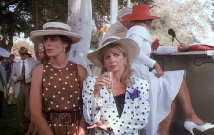 Julia Roberts's character Vivian Ward wore a brown polka-dot dress to a polo match in the 1990 film Pretty Woman