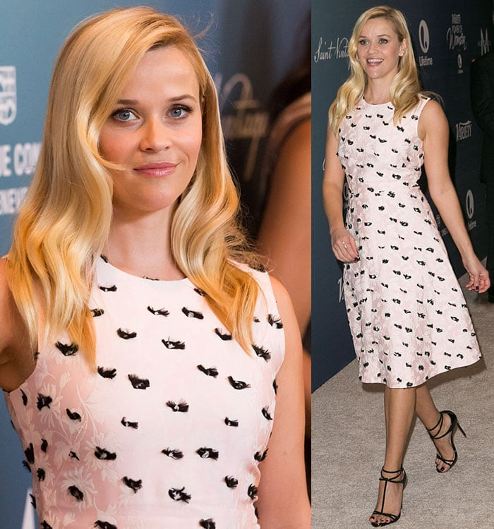 Reese Witherspoon wears her blonde hair down in soft waves