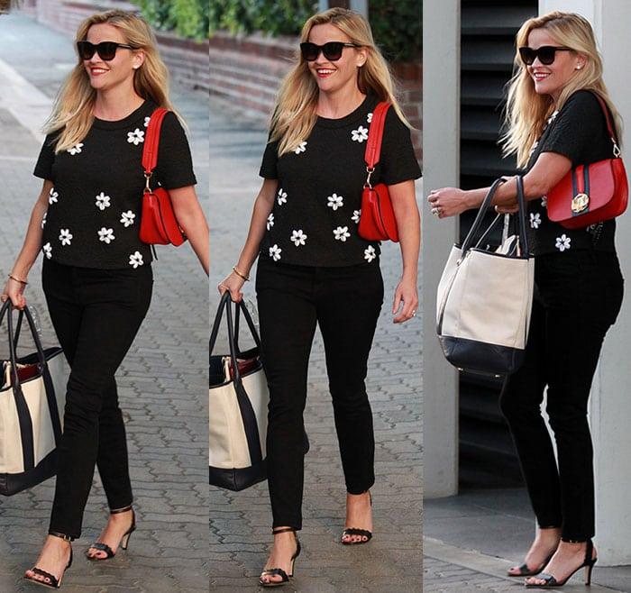 Reese-Witherspoon-floral-top-black-pants-large-bag