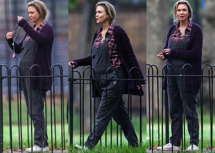 Renee Zellweger wears overalls and a cardigan as she films a scene for an upcoming Bridget Jones film