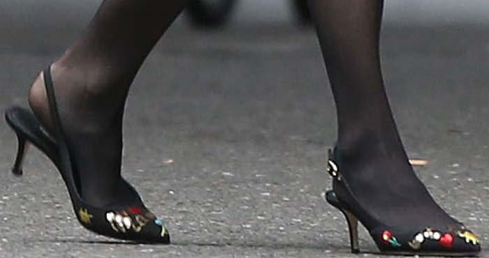 Renée Zellweger wears Dolce & Gabbana Je T'aime Maman heels