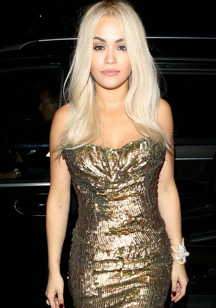Rita Ora arrives at the aquatic-themed Mayfair restaurant Sexy Fish in London