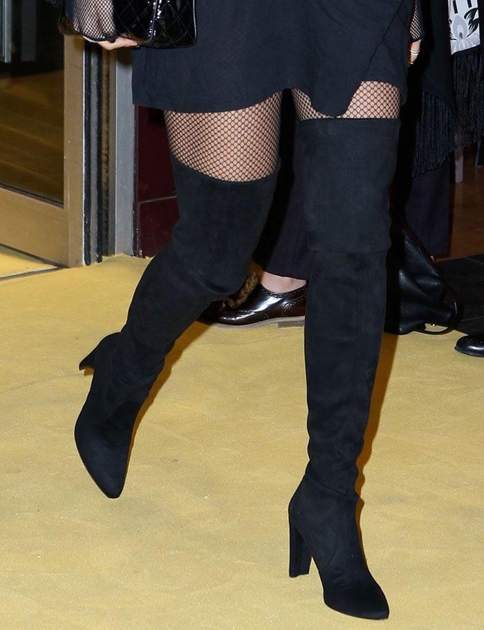 Rita Ora in Stuart Weitzman thigh-high 'Alllegs' boots