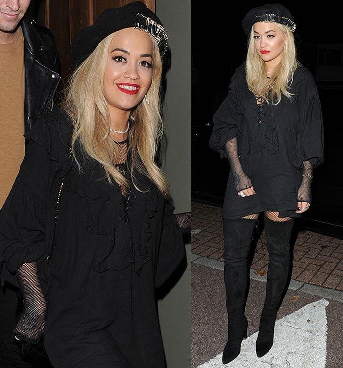 Rita-Ora-beret-hat-fishnets-tunic-mini-dress