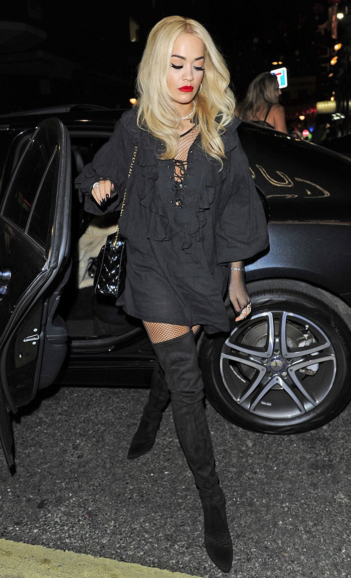 Rita Ora at the 'Kill Your Friends' screening before enjoying a night out at Soho House in London, England, on October 27, 2015