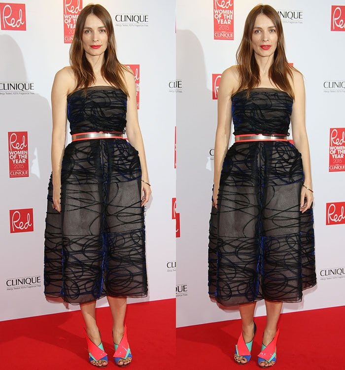 Roksanda Ilincic wears a strapless dress from her own collection on the red carpet