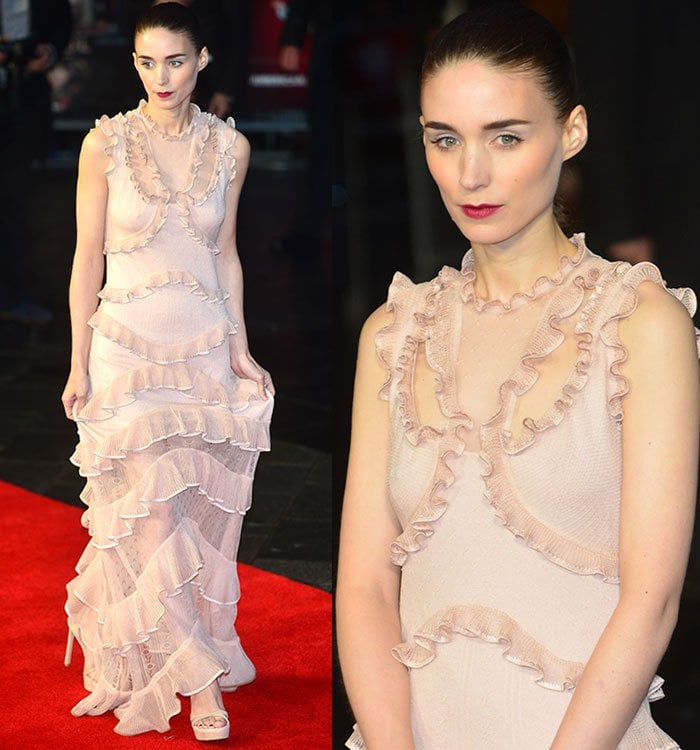Rooney Mara with dark ruby lipstick, blush-on that highlighted her cheekbones, thick eyebrows, and dusty pink eye shadow