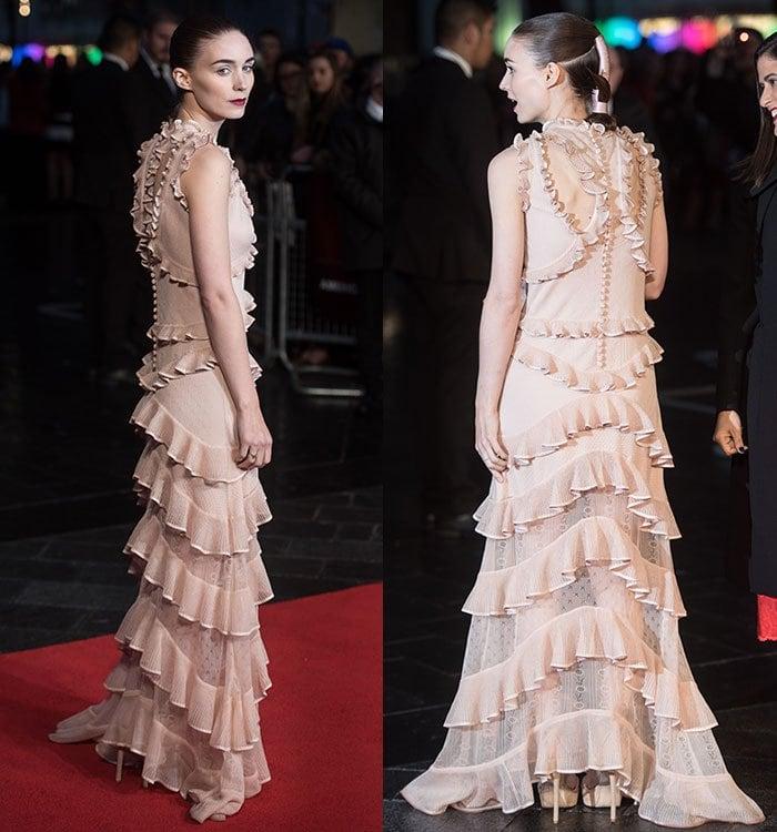 Rooney-Mara-Alexander-McQueen-ruffled-lace-nude-gown