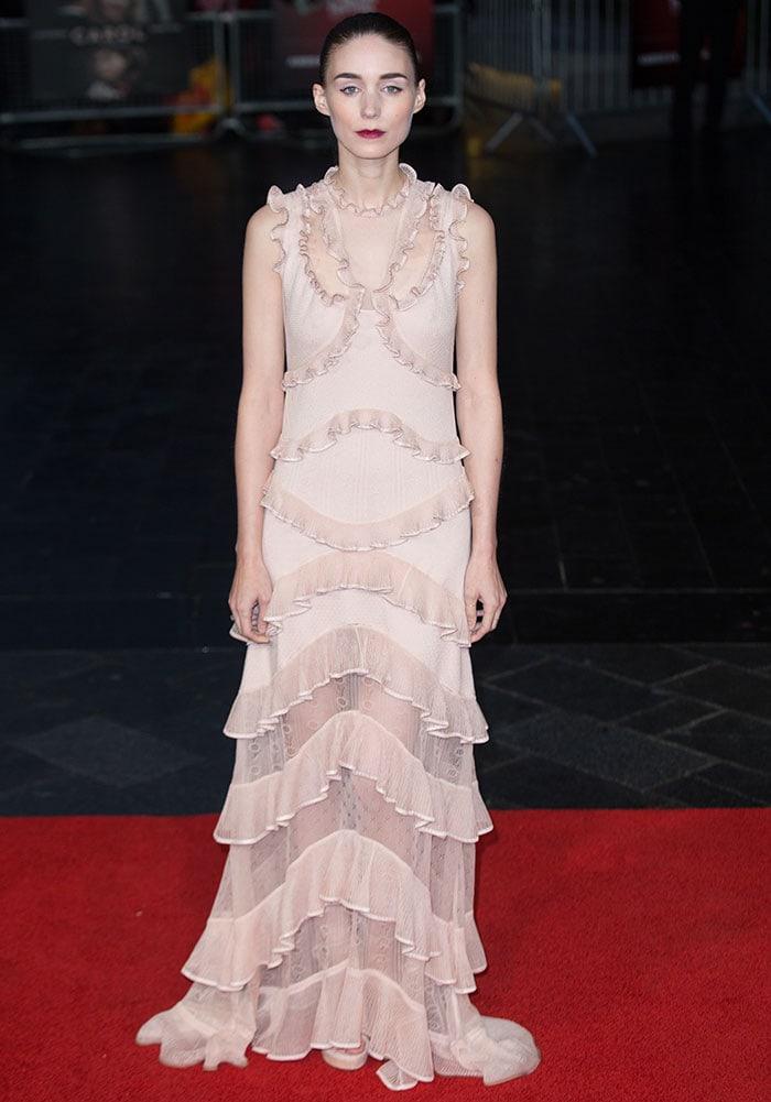 Rooney Mara donned a striking Alexander McQueen Spring 2016 dress