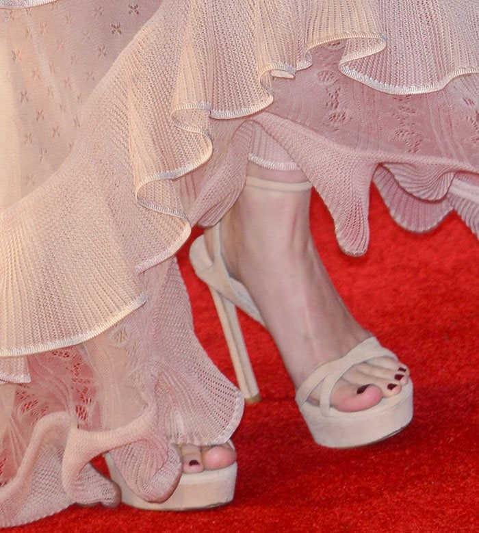 Rooney Mara's hot feet in nude Bebare sandals