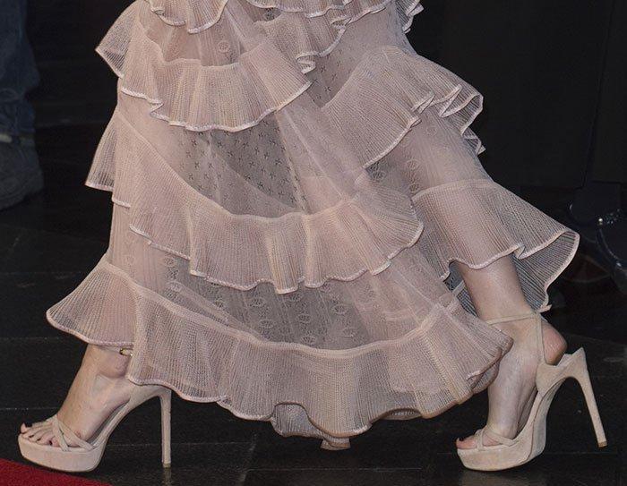 Rooney Mara in Stuart Weitzman sandals