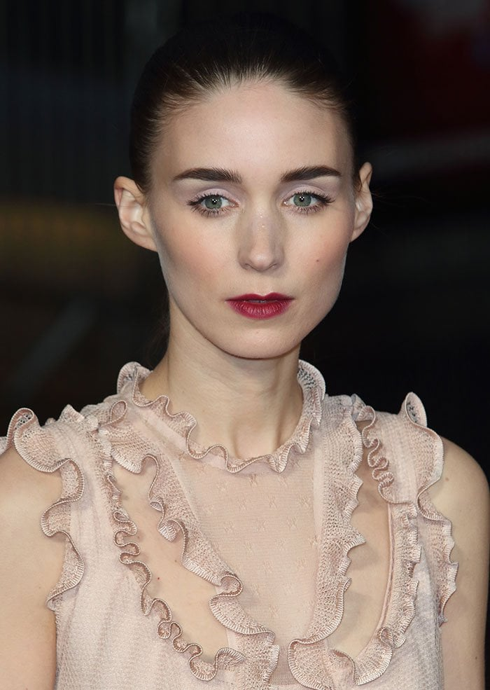 Rooney Mara's nude ruffled lace dress with a semi-sheer fabric