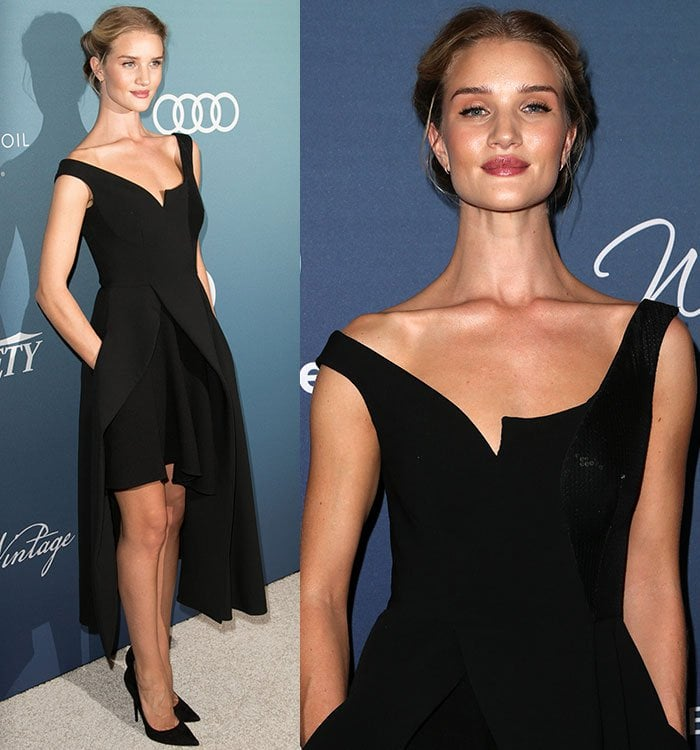 Rosie-Huntington-Whiteley-Stella-McCartney-hi-low-black-dress