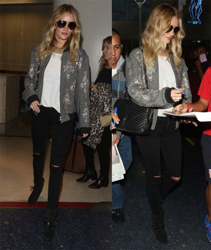 Rosie Huntington-Whiteley arrives at Los Angeles International Airport