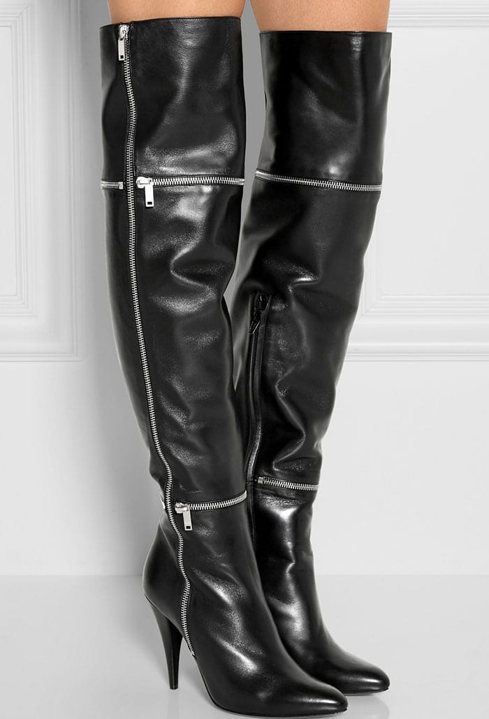 Saint Laurent Embellished Leather Thigh-High Boots