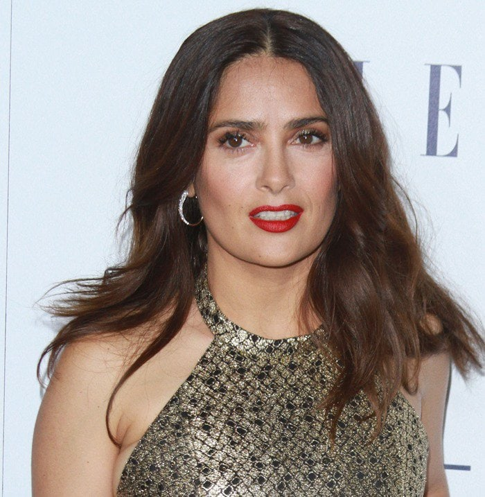 Salma Hayek wears her hair down at the Elle Women in Hollywood Awards