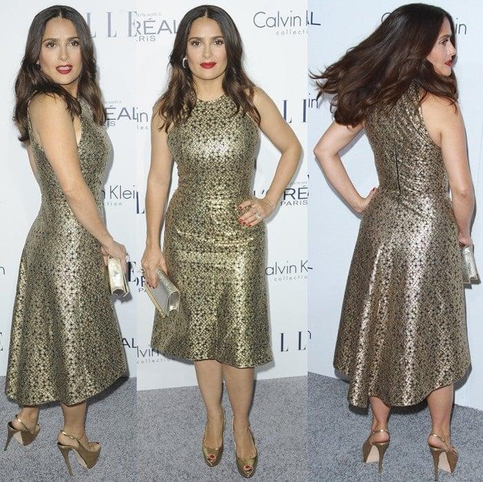 Salma Hayek wears a metallic dress from Saint Laurent