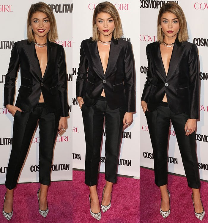 Sarah Hyland flashed her sexy legs in cropped pants by Dsquared2